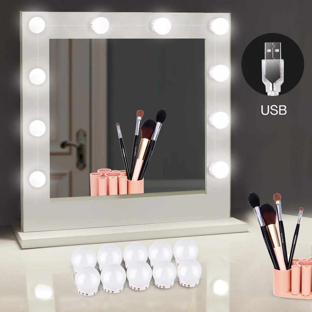 Homeasy Hollywood Style LED Vanity Mirror Lights Kit with 10 Dimmable Bulbs, Vanity LED Strip Light for Makeup Vanity Table Set in Dressing Room- Dayl