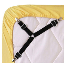 Bed Sheet Fasteners, Adjustable Triangle Elastic Suspenders Gripper Holder Straps Clip for Bed Sheets,Mattress Covers, Sofa Cushion (White 4 Pack)