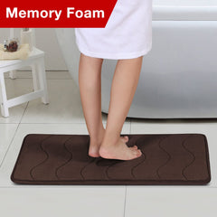 Flamingo P Soft Non Slip Absorbent Bath Rugs Bathroom Rug Set Memory Foam Bath Mats for Bathroom (Brown Striped Pattern, Size: W17 x L24)