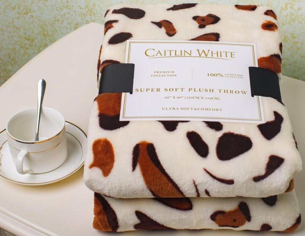 "Caitlin White Throw Blanket for Couch/Sofa/Bed, Luxury Super Soft Microplush Velvet, 50""x60"", Leopard Print"
