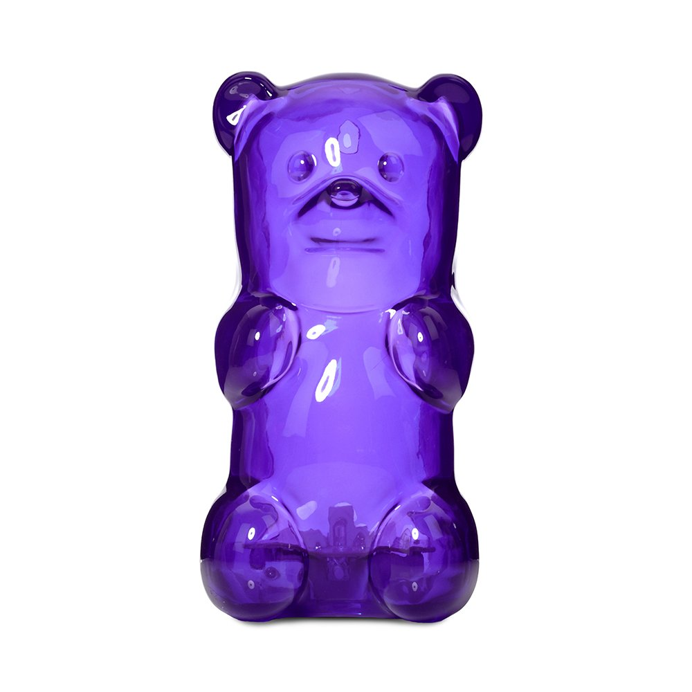 Gummygoods Squeezable Gummy Bear Night Light for Kids, Babies, Toddlers - Portable w/ Sleep Timer (Purple)