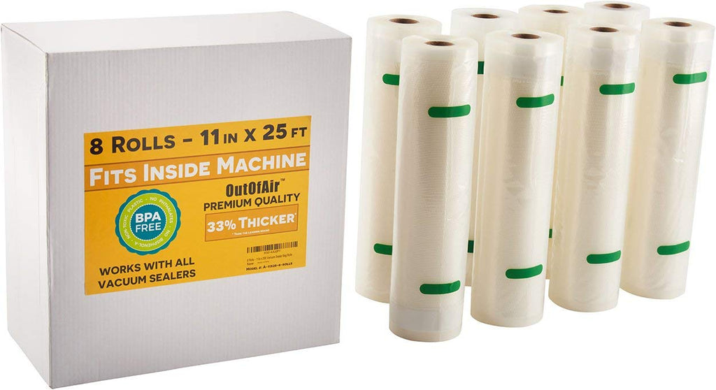 "11"" x 25' Rolls (Fits Inside Machine) BULK 8 Pack (200 feet total) OutOfAir Vacuum Sealer Rolls for Foodsaver and others 33% Thicker, BPA Free, FDA Ap"