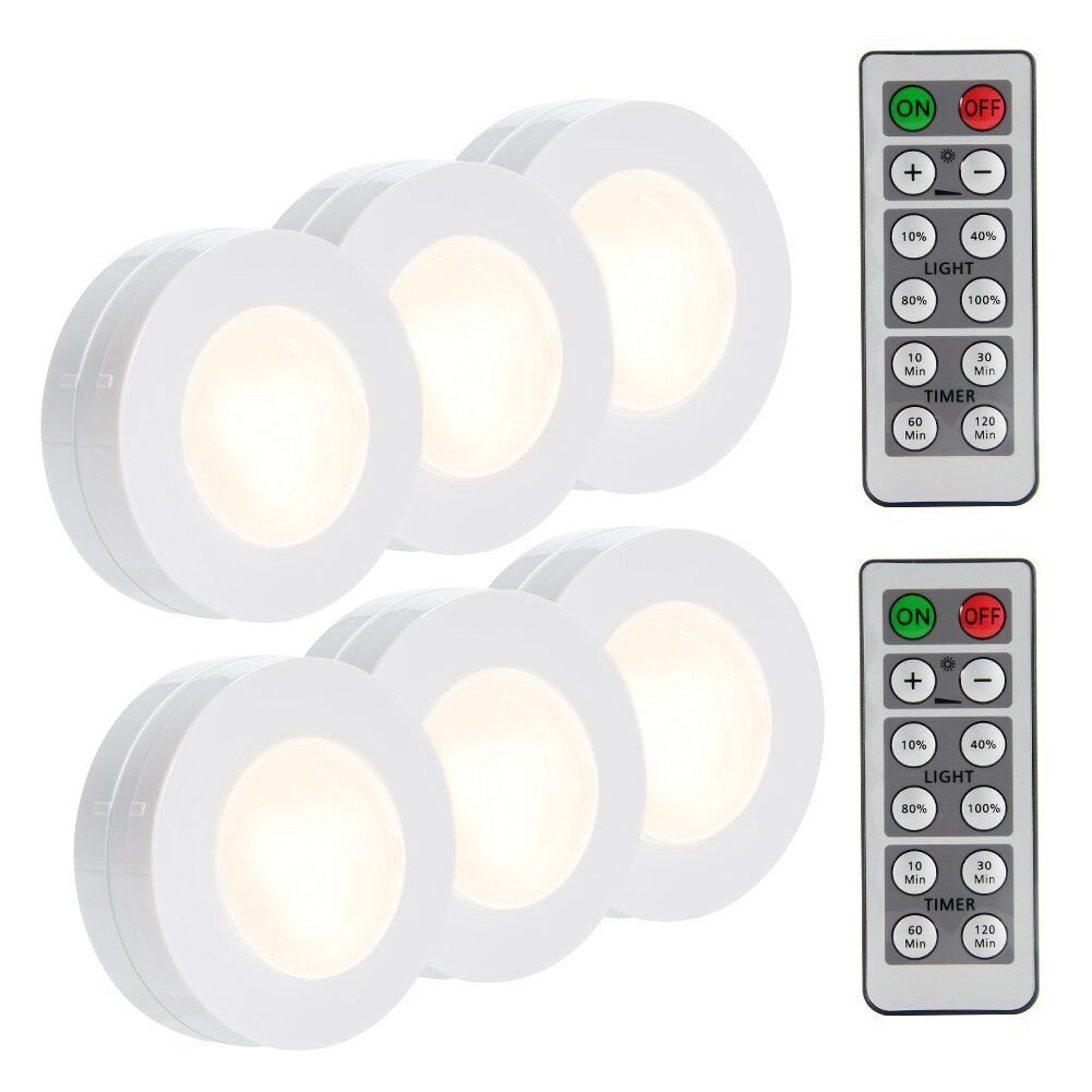 LUNSY Wireless LED Puck Lights, Closet Lights Battery Operated with Remote Control, Kitchen Under Cabinet Lighting Wireless, 4000K Natural White - 6 P