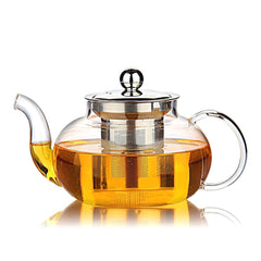 Hiware Good Glass Teapot with Stainless Steel Infuser & Lid, Borosilicate Glass Tea Kettle Stovetop Safe, Blooming & Loose Leaf Teapots, 27 Ounce / 80