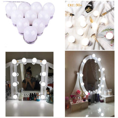Upgraded Hollywood Style LED Vanity Mirror Lights Kit, 10 Dimmable Makeup Light Bulbs, Mirror Lighting Strip Fixture for Vanity Dressing Table Set,Bat