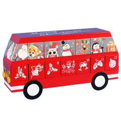 PIONEER-EFFORT 14.5 Inch Christmas Wooden Bus Advent Calendar with 24 Drawers to Fill Candy or Gift Clues for Kids with Fixed Wheels not a Toy