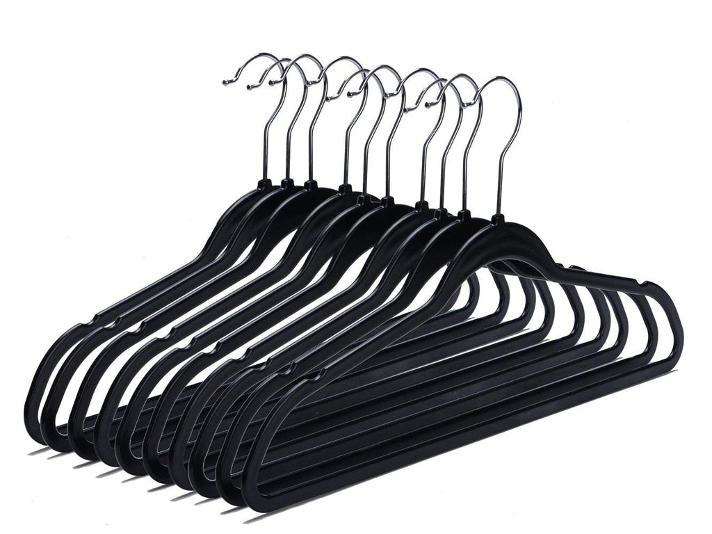 Quality Plastic Non Velvet Non-Flocked Hangers Black Swivel Hook- (50)