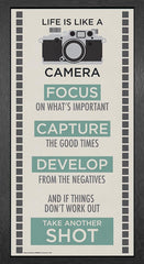 Culturenik Life is a Camera Inspirational Motivational Photography Quote Poster Print, Framed 12 by 24