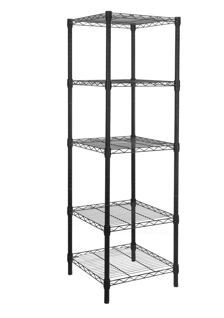 HollyHOME 5 Shelves Adjustable Steel Wire Shelving Rack in Small Space or Room Corner, Metal Heavy Duty Storage Shelf, Utility Rack, Bathroom Storage