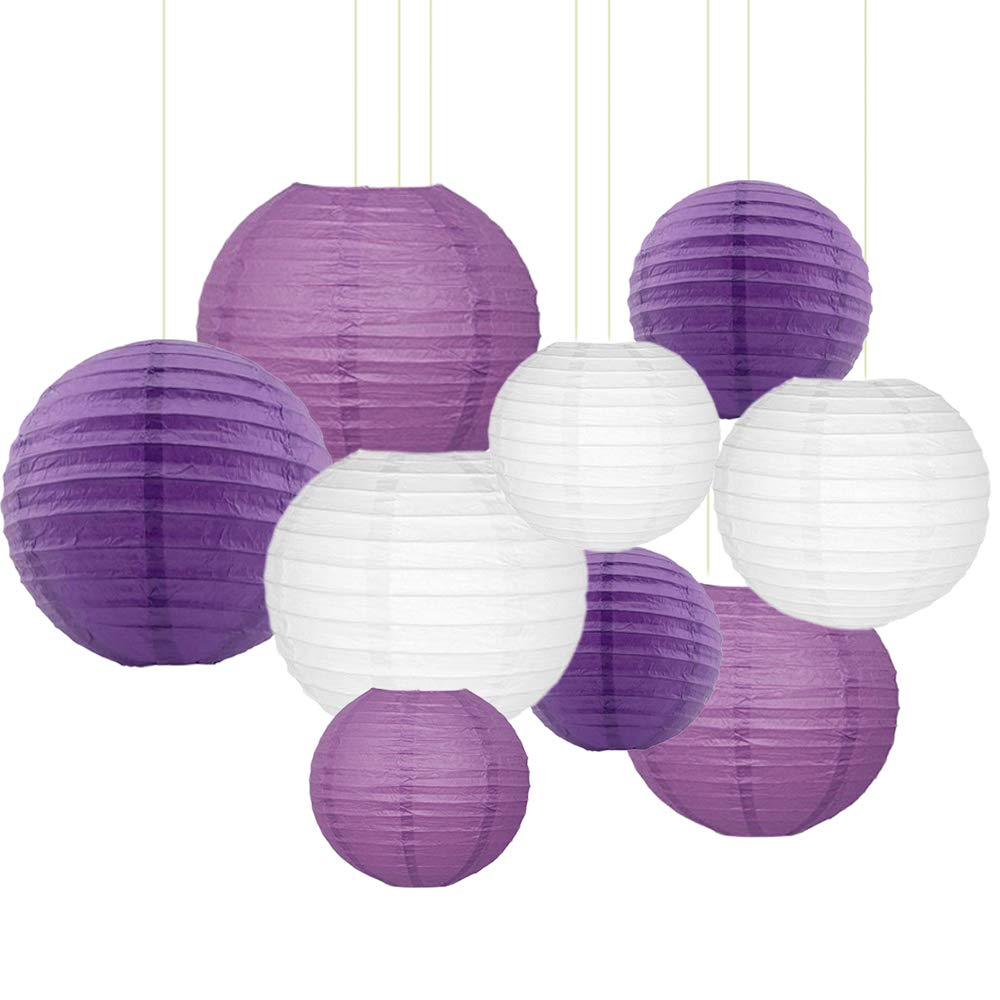 "Sonnis Paper Lanterns 12""10"" 8""Round Lanterns for Birthday Wedding Baby Showers Party Decorations (Dark Purple, Purple, White)"