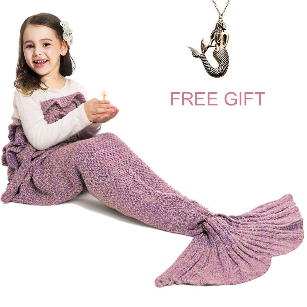 JR.White Mermaid Tail Blanket for Kids and Adult,Hand Crochet Snuggle Mermaid,All Seasons Seatail Sleeping Bag Blanket (Adult-Scale-Green)
