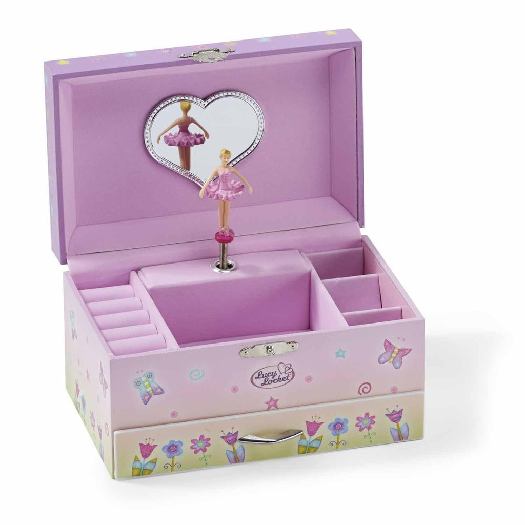 Lucy Locket Fairy Tale Kids Musical Jewelry Box - Pink Glittery Kids Music Box with Ring Holder