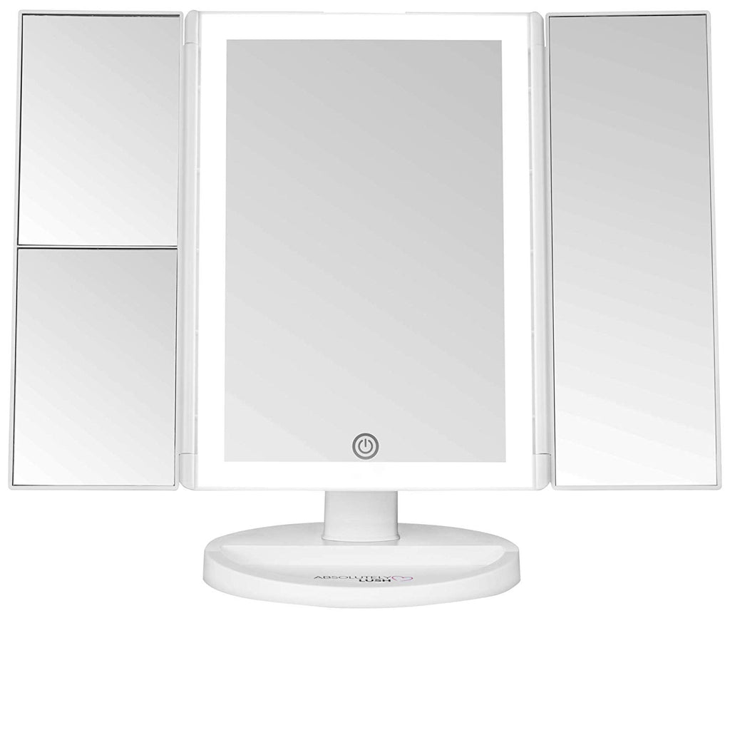 Absolutely Lush Lighted Makeup Mirror Vanity Mirror with Lights, Touch Screen Dimming, Tri-Fold 1x 2X 3X Magnification Sections, Portable High Definit