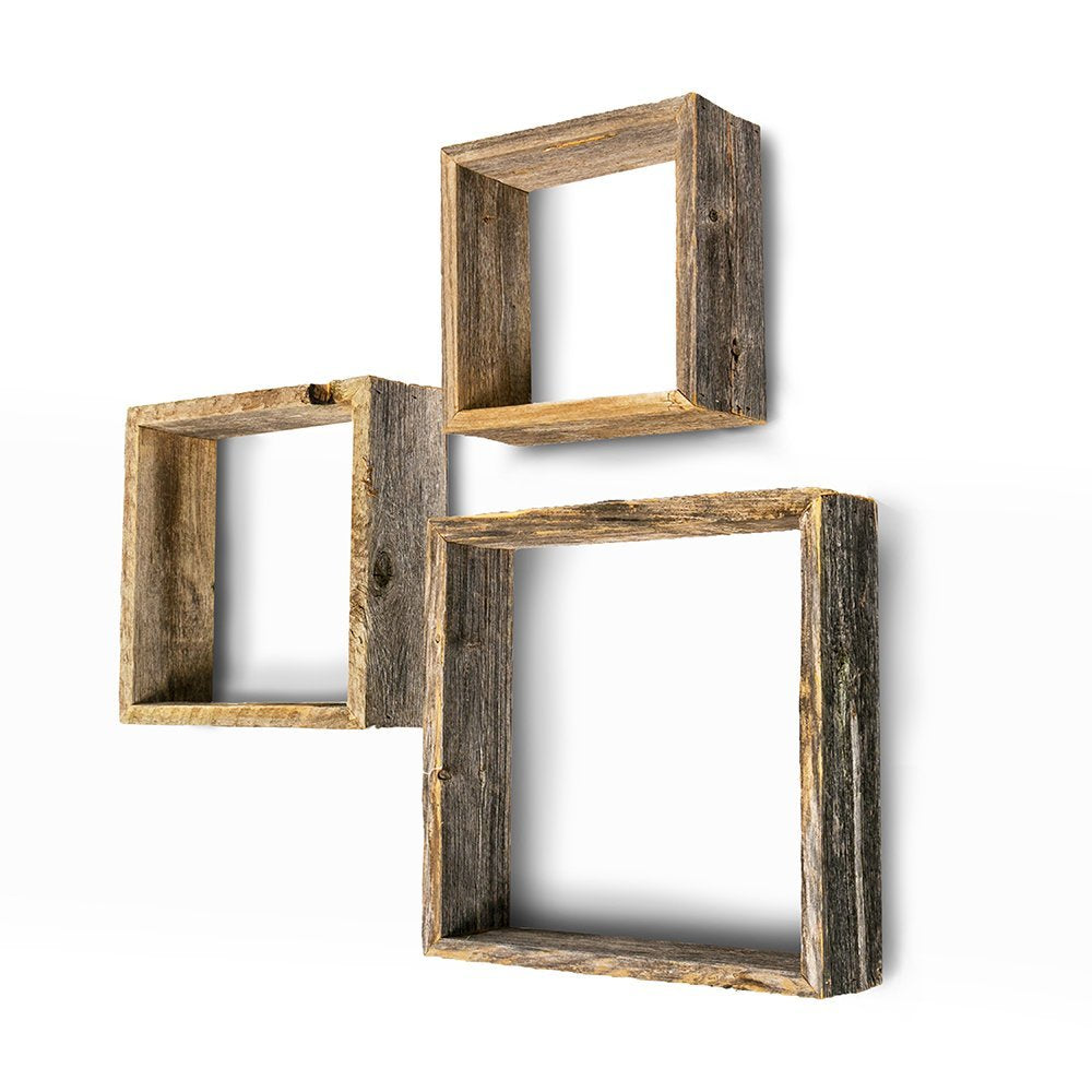 BarnwoodUSA Rustic Farmhouse Floating Box Shelves Made of 100% Reclaimed and Recycled Wood | Open Shadow Box Style to Display Other Pieces or Show Off