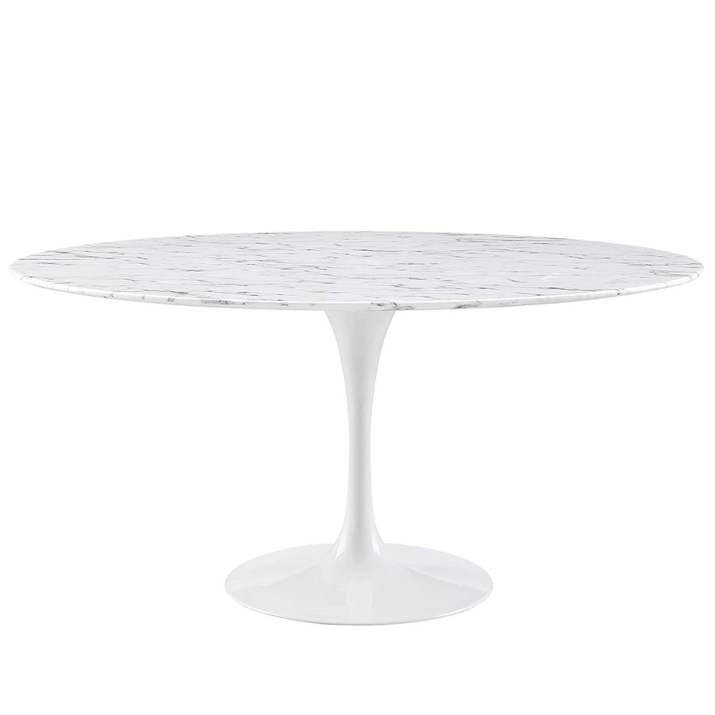 "Modway Lippa 60"" Artificial Marble Dining Table in White"