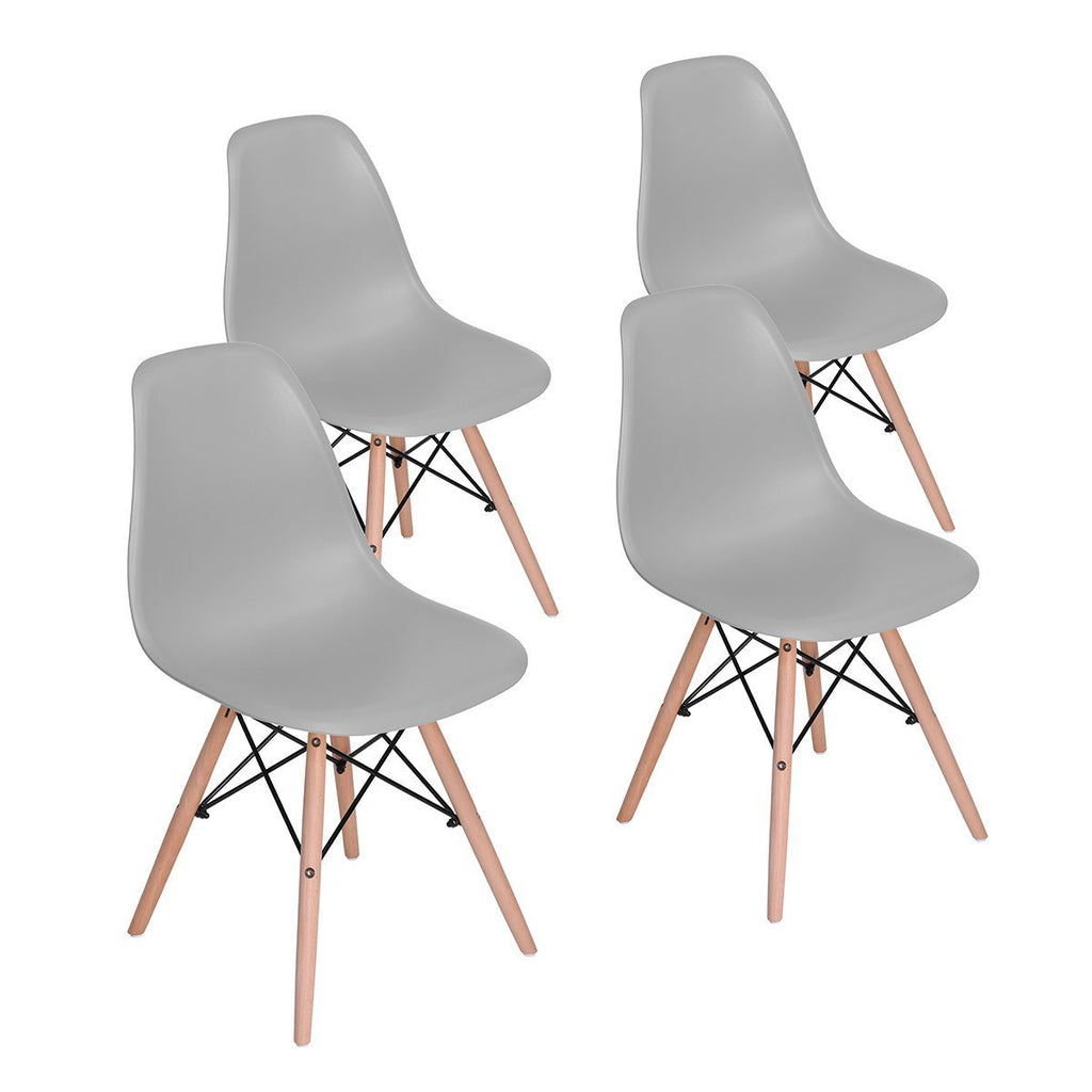 Dining Chair Modern Style Molded Plastic Cover Natural Wood Legs Upgrade Shell Side Chair (Set of 4, White)