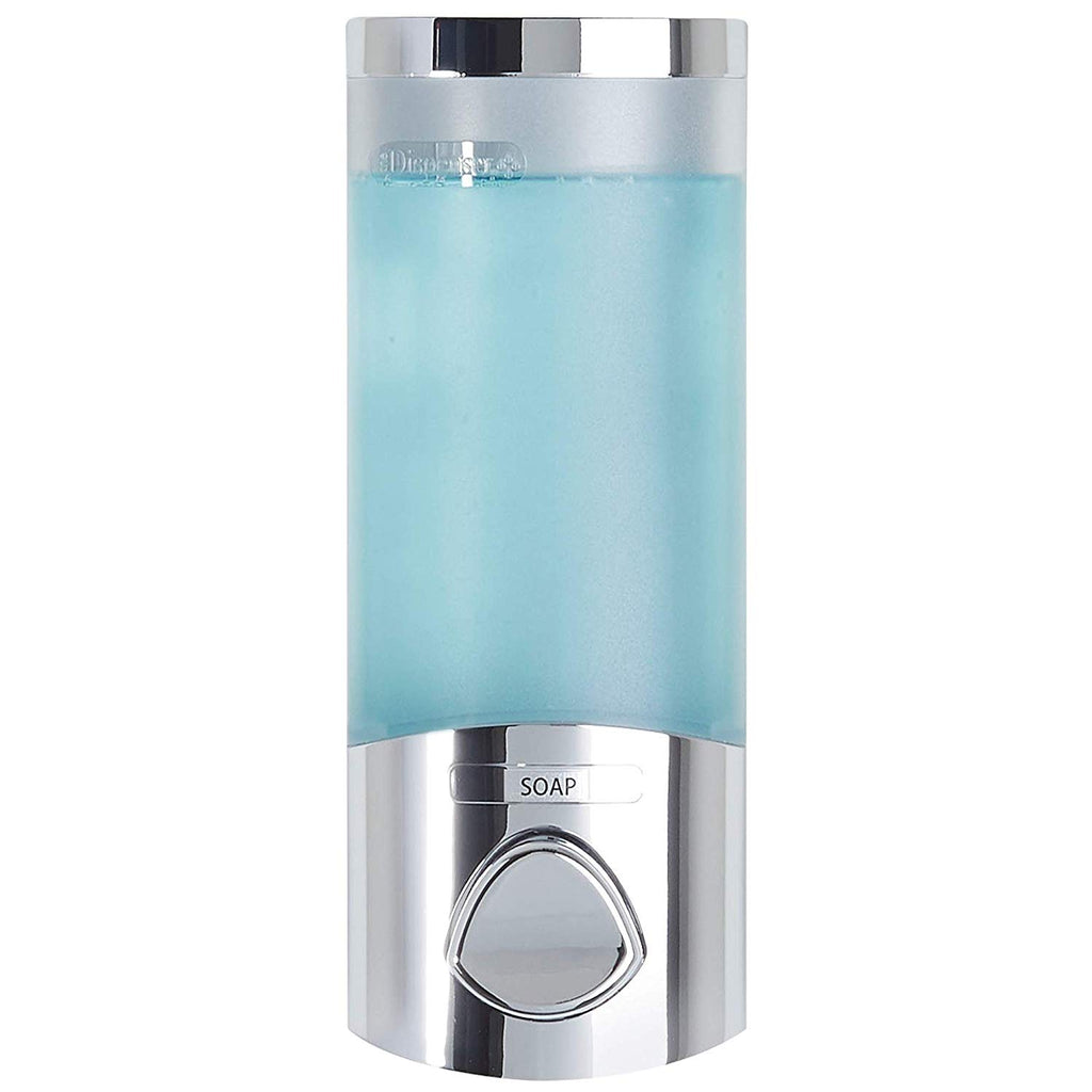 Better Living Products 76134-1 Euro Uno Shower Liquid Dispenser with Translucent Container, Satin Silver