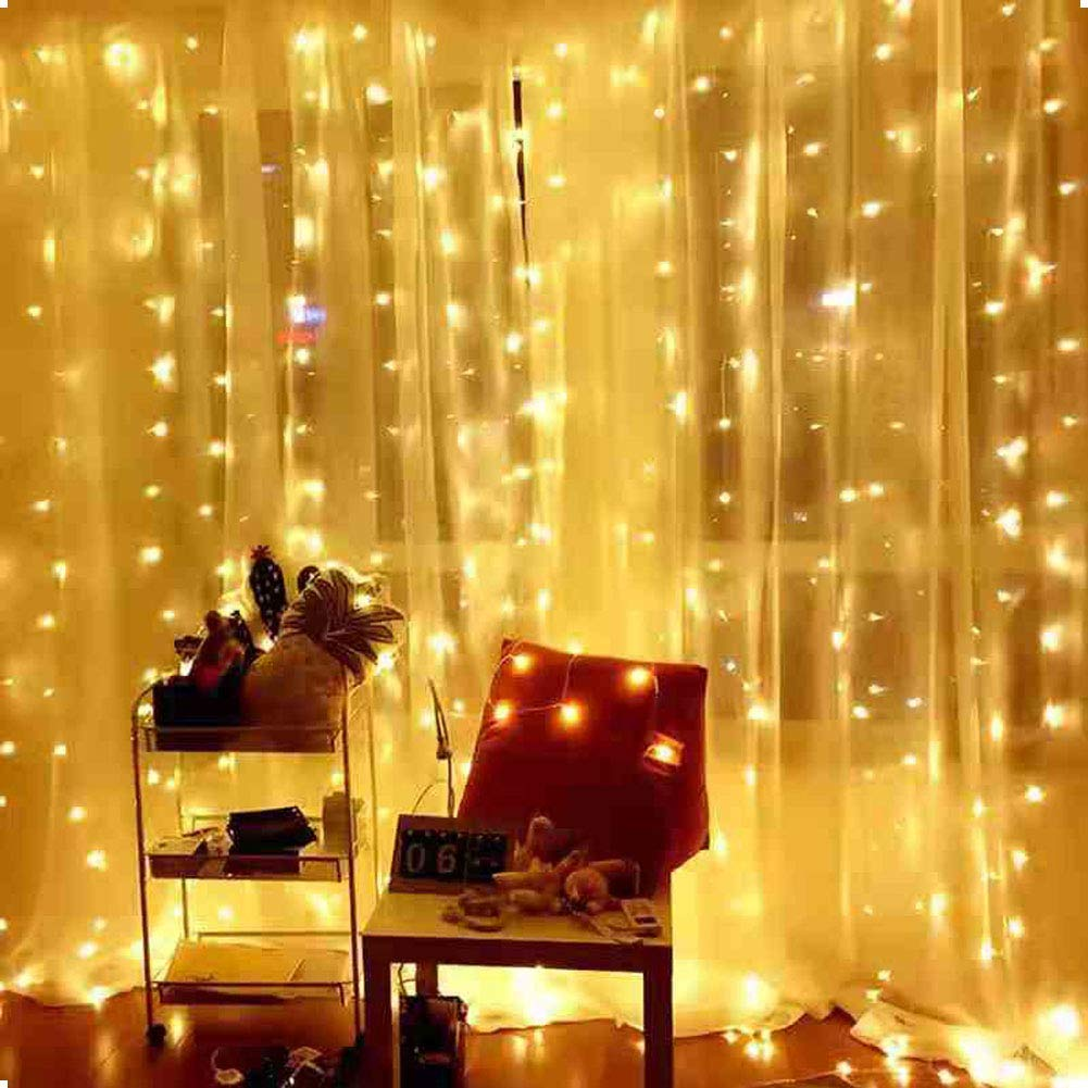 Ever Smart Curtain Lights, USB Powered 300 LEDs Warm White String Lights for Bedroom, 9.8x9.8Ft Waterproof & 8 Modes Chasing Fairy String Lights