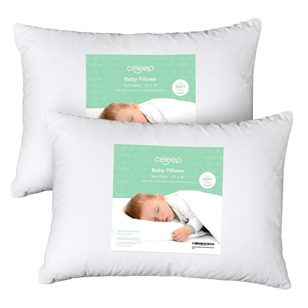 "[2-Pack] Celeep Baby Toddler Pillow Set - 13"" x 18"" Toddler Bedding Small Pillow - Baby Pillow with 100% Cotton Cover"