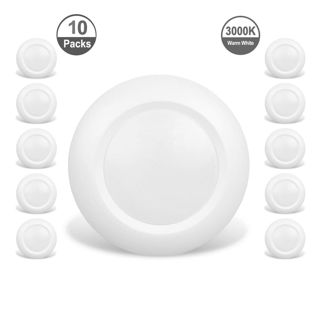JULLISON 10 Packs 4 Inch LED Low Profile Recessed & Surface Mount Disk Light, Round, 10W, 600 Lumens, 3000K Warm White, CRI80, DOB Design, Dimmable, E