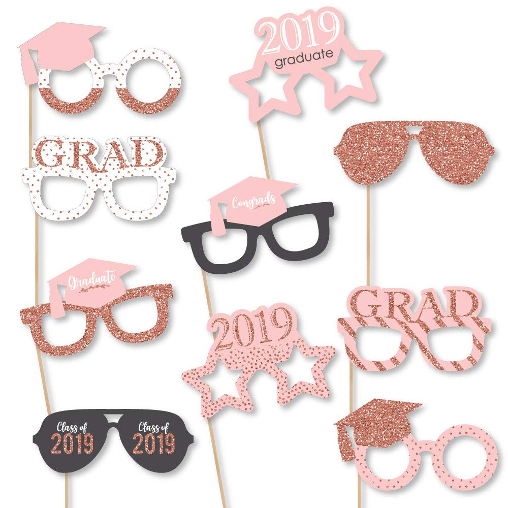 Big Dot of Happiness Rose Gold Grad Glasses - 2019 Paper Card Stock Graduation Party Photo Booth Props Kit - 10 Count