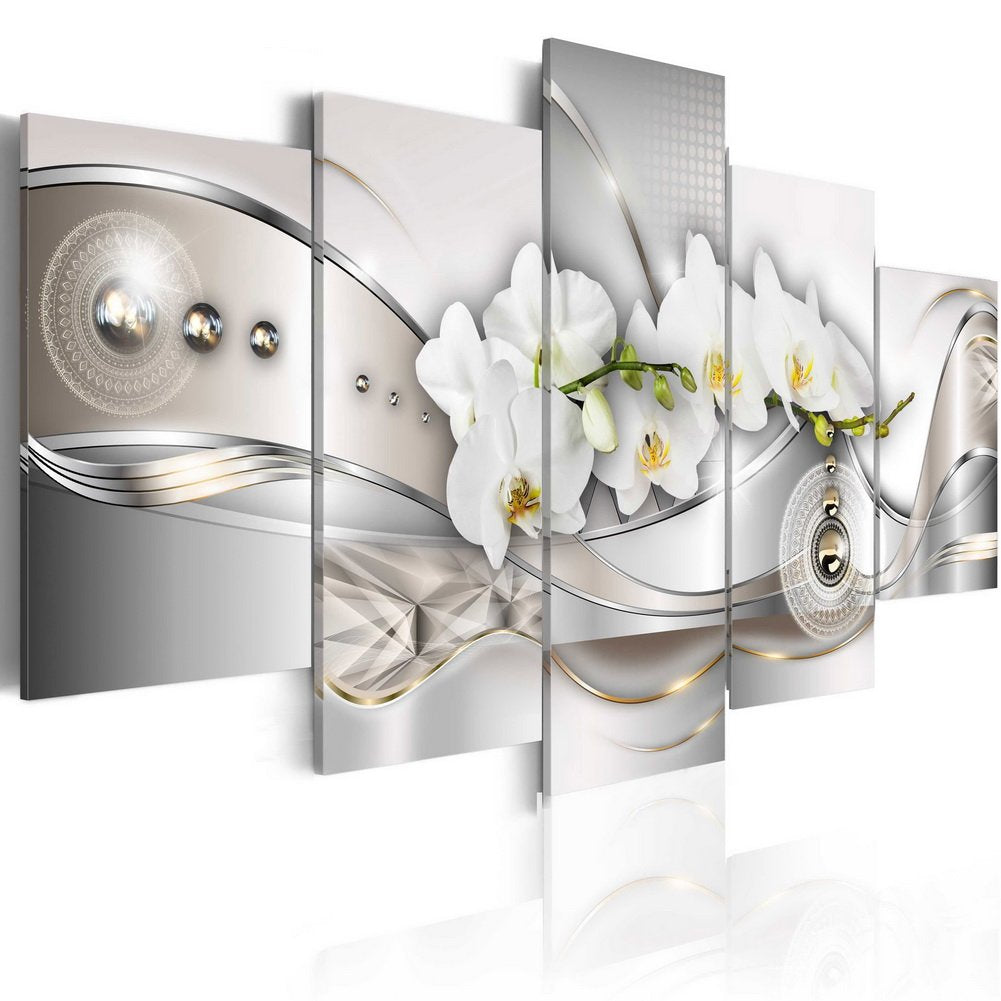 Large Vibrant Flower Canvas Wall Art Pearl Orchids Print Artwork Modern Decor 5 Panels Painting White Floral HD Picture Bedroom Framed Ready to Hang (