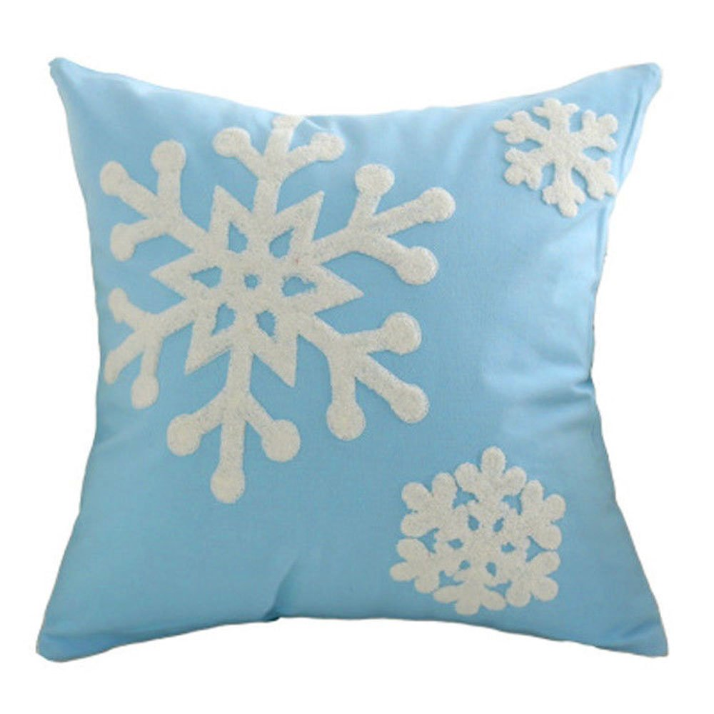 "E.life Soft Square Christmas Snowflake Style Cotton Line Embroidery Throw Pillow Case Outdoor Cushion Cover Decorative 18x18"" (1Pcs, Sky Blue)"
