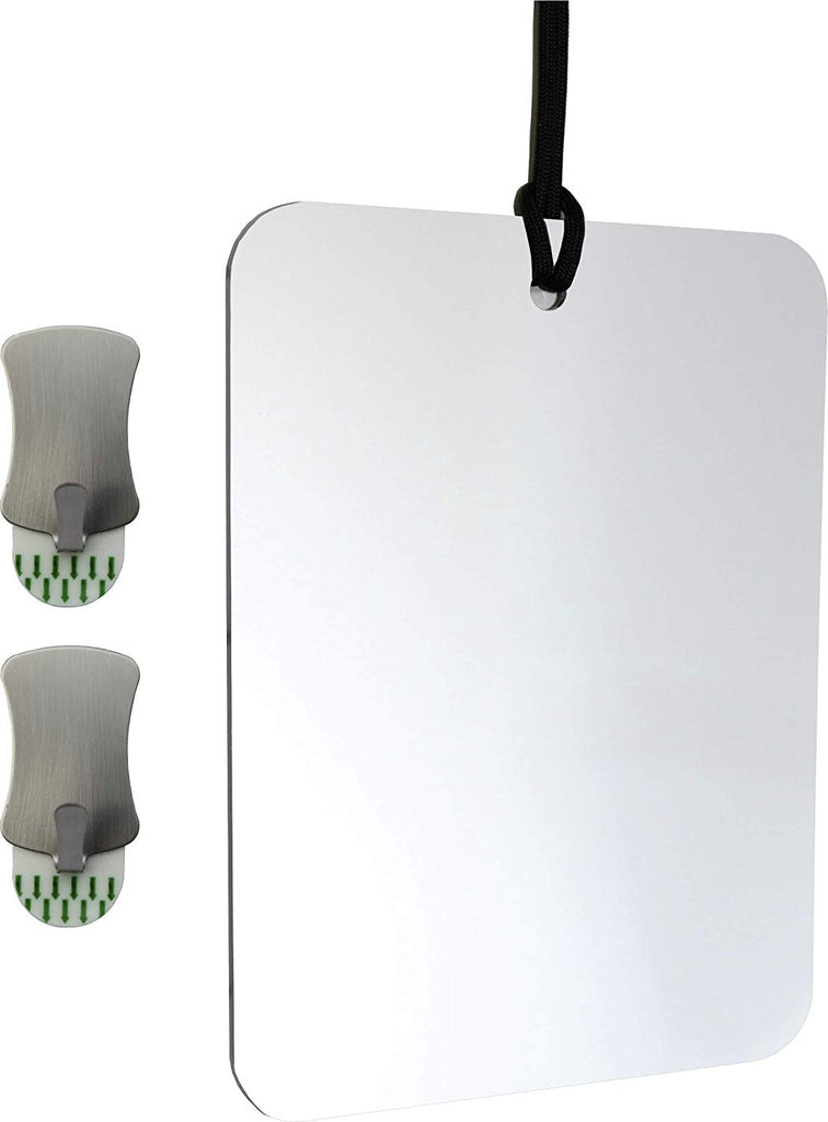 ReflectXL Shower Mirror by Mirror On A Rope. Our Largest Mirror. Shatterproof. Easily Eliminate Fog and Shadows. Includes Two Removable Adhesive Hooks