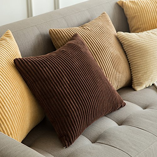 MIULEE Pack of 2, Corduroy Soft Soild Decorative Square Throw Pillow Covers Set Cushion Cases Pillowcases for Sofa Bedroom Car 20 x 20 Inch 50 x 50 cm img 4