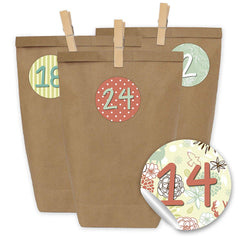 Papierdrachen DIY Advent Calendar Mini Set with 24 Number Stickers and Paper Bags and Clips for Making and Filling - Stickers No 24