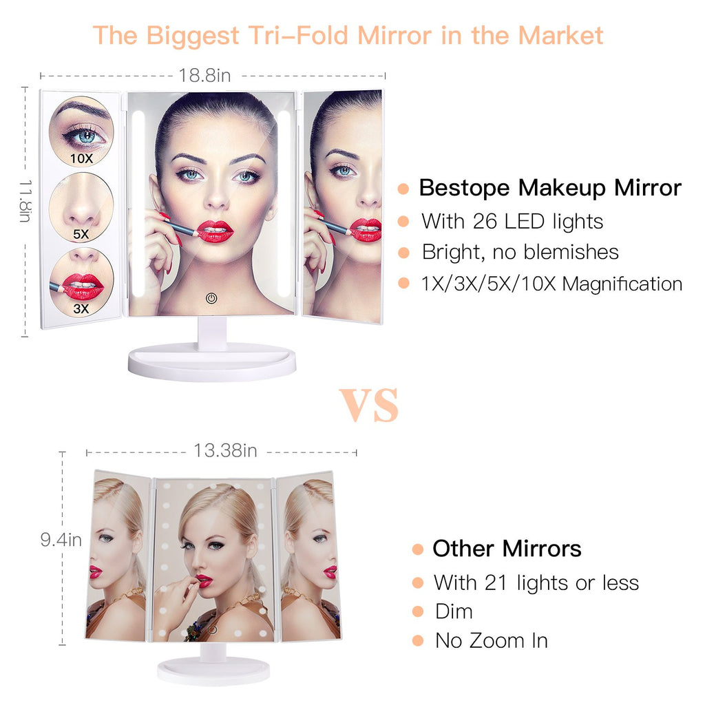 BESTOPE Makeup Mirror Oversize 18.8inch Lighted Vanity Mirror with 10X/5X/3X Magnification, 26 LED Light Trifold Cosmetic Mirror with 360° Rotatio