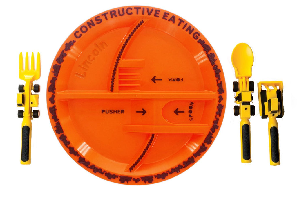 Constructive Eating Construction Plate with Construction Utensil Set for Toddlers, Babies, Infants and Kids - Flatware Toys are Made in the USA with F