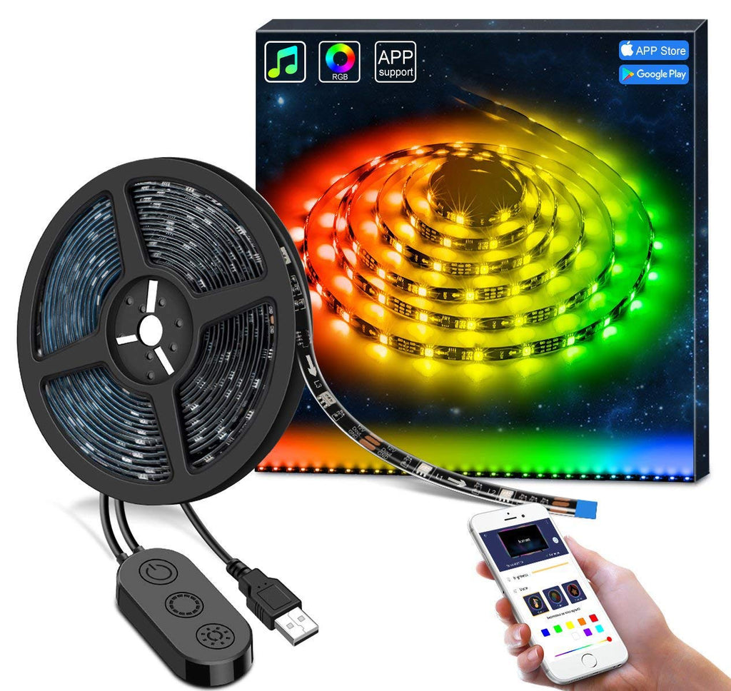 Led Strip Lights for TV with APP, MINGER 6.56ft TV RGB Backlights Neon TV Ambient Lighting, 5050 TV Lights Kit, Multi Color Accent LED Strips, USB Pow