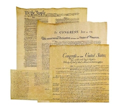 4 Antiqued Parchment Paper US Historical Documents - The Declaration of Independence, The US Constitution, The Bill Of Rights, and the Gettysburg Addr