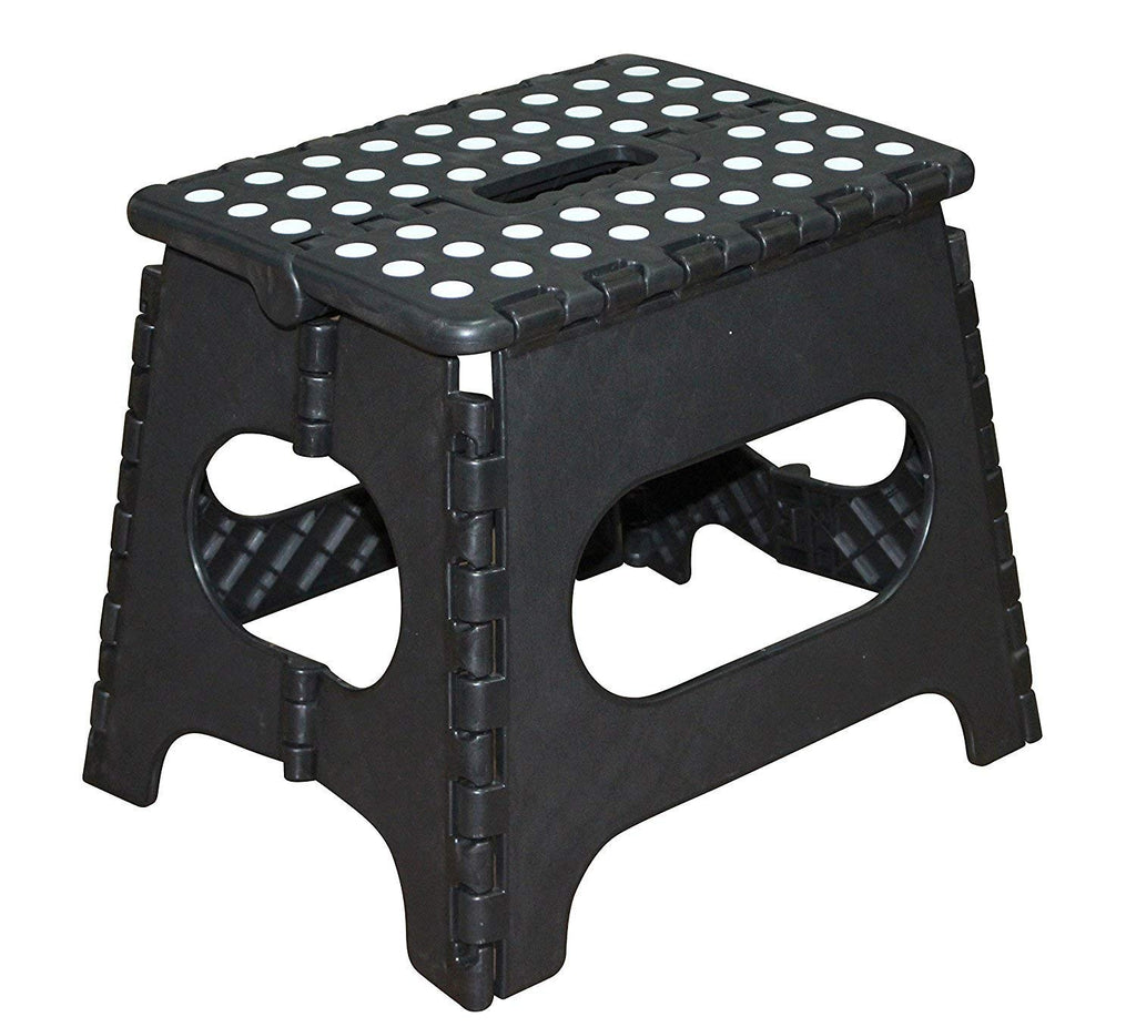Jeronic 11-Inch Plastic Folding Step Stool, Black