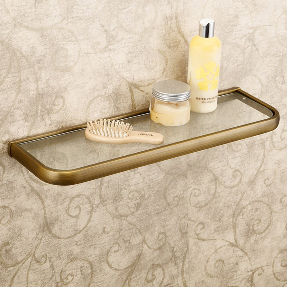 Leyden Retro Bathroom Accessories Solid Brass Antique Brass Finished Glass Bathroom Shelf Towel Holder Towel Bars Towel Rack Wall maounted