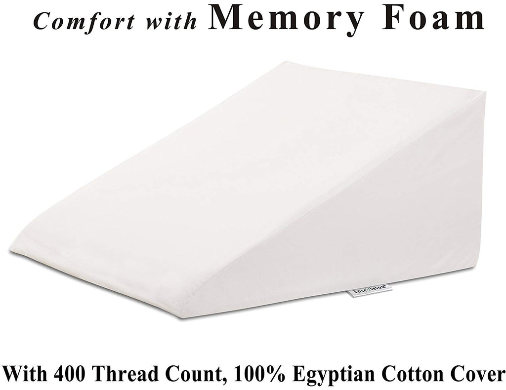 "InteVision Extra Large Bed Wedge Pillow (33"" x 30.5"" x 12"") with a 400 Thread Count, 100% Egyptian Cotton Cover - Helps Relief from Acid Reflux, Post"