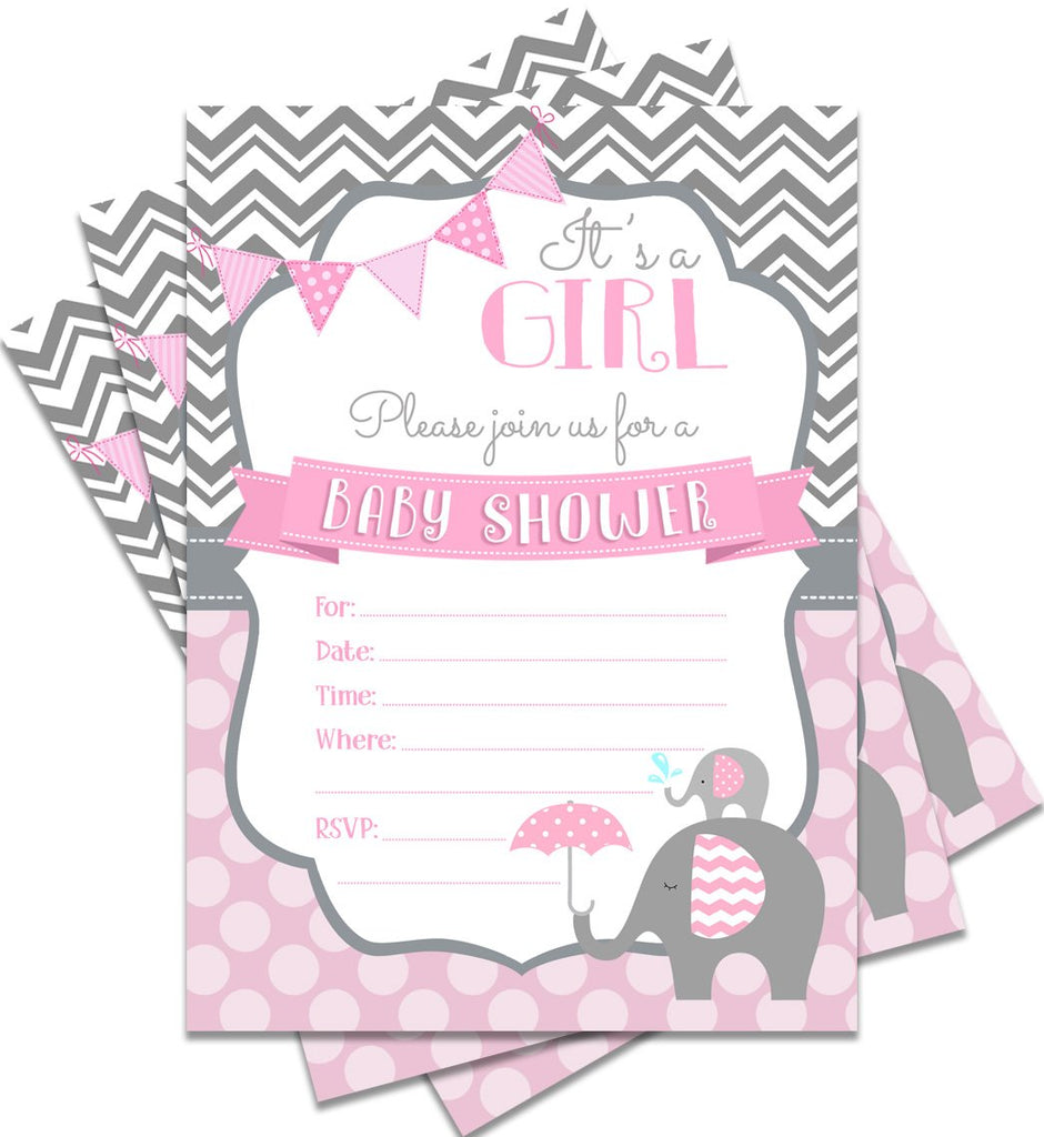 25 Pink Baby Shower Invitations It's a Girl 5x7 Elephant Theme Print with Envelopes