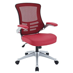Modway Attainment Mesh Back And Orange Vinyl Modern Office Chair With Flip-Up Arms - Ergonomic Desk And Computer Chair