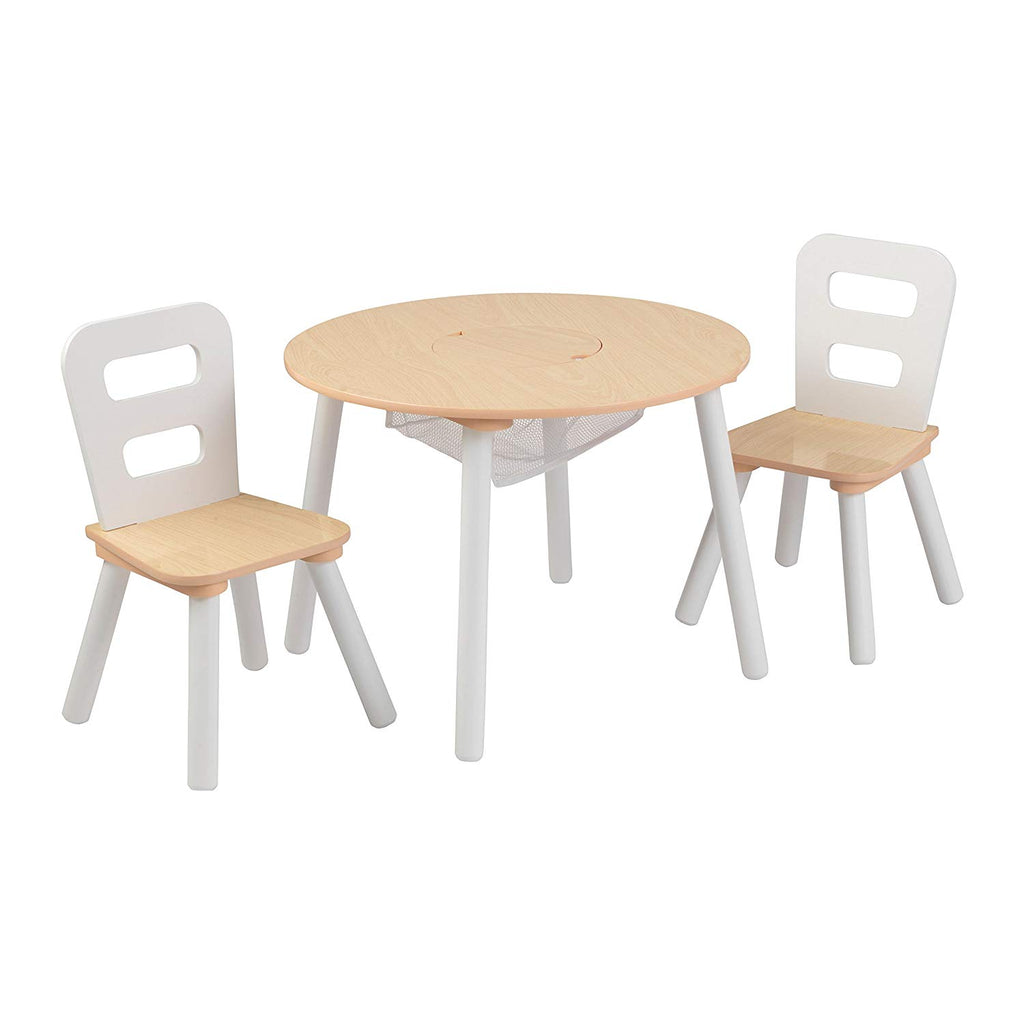 Kidkraft Ro+C154Und Storage Table & 2 Chair Set - Natural & White
