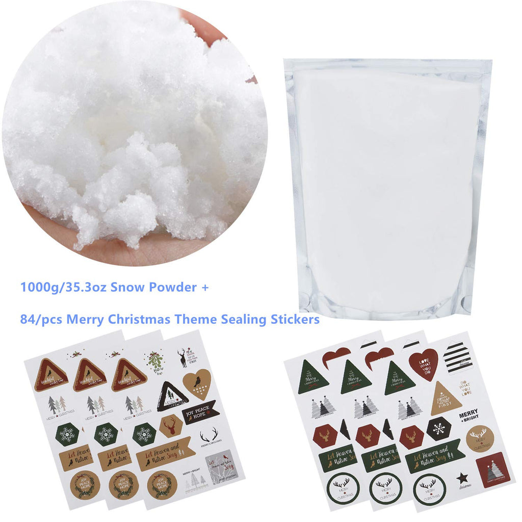 AHUA 1000g/35.3oz Magic Snow DIY Artificial Snow Powder Simulation Snow Perform Prop Party Children Kid Gift,Games,Xmas Decoration,Plus 6Pack Amazing