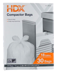 HDX 959933 18 Gallon 2.5 Mil Trash Compactor Bags w/Tie Flaps (30-Count) (Made in USA)