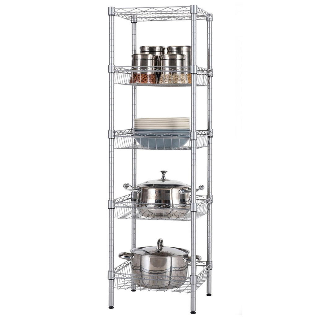 "SINGAYE Storage Shelves, 5-Tier Wire Shelving Unit with Baskets Shelving Adjustable Storage Shelf, 13.4"" D x 13.4"" W x 51.2"" H,Silver"