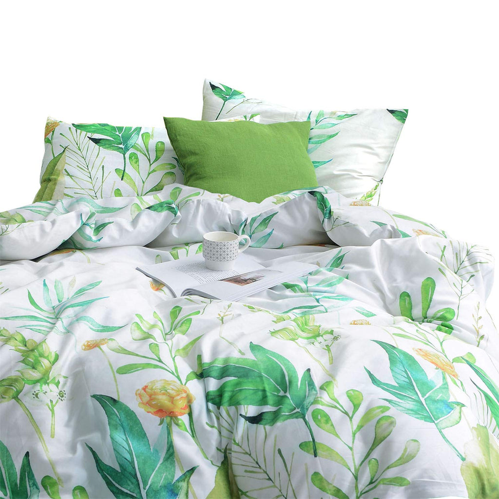 White Floral Flower Modern Pattern Printed on Dark Gray 100/% Soft Cotton Bedding with Zipper Closure Grey Duvet Cover Set Wake In Cloud 3pcs, Twin Size