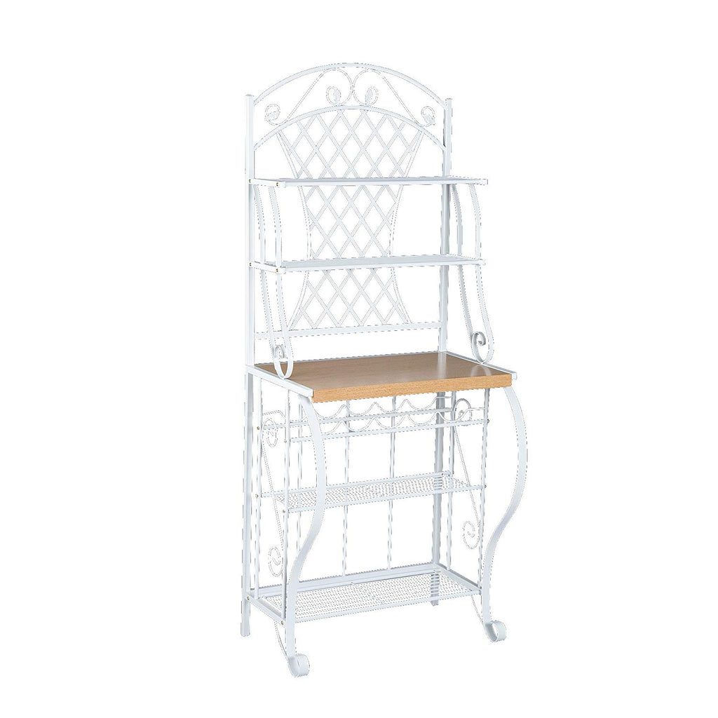 Southern Enterprises Trellis Bakers Rack with Scroll Work, White with Oak Finish