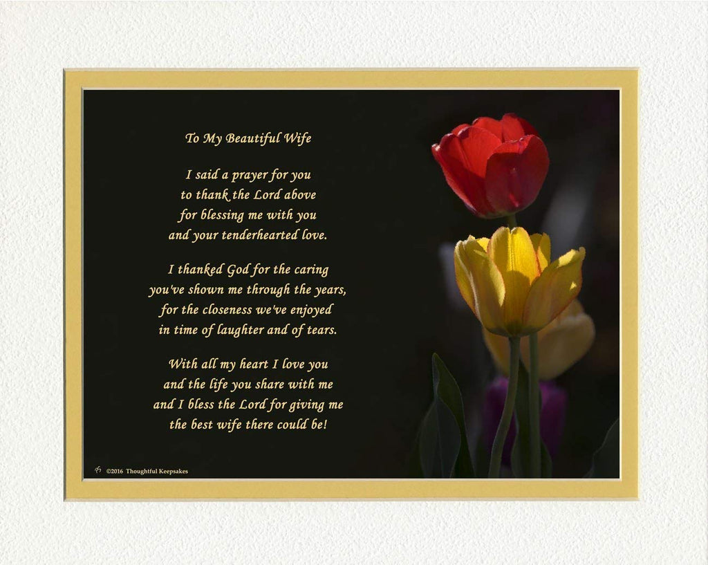 "Wife Gift with ""Thank You Prayer for Best Wife"" Poem. Tulips Photo, 8x10 Double Matted. Special Wife Gift for Anniversary, Birthday, Christmas. Valent"