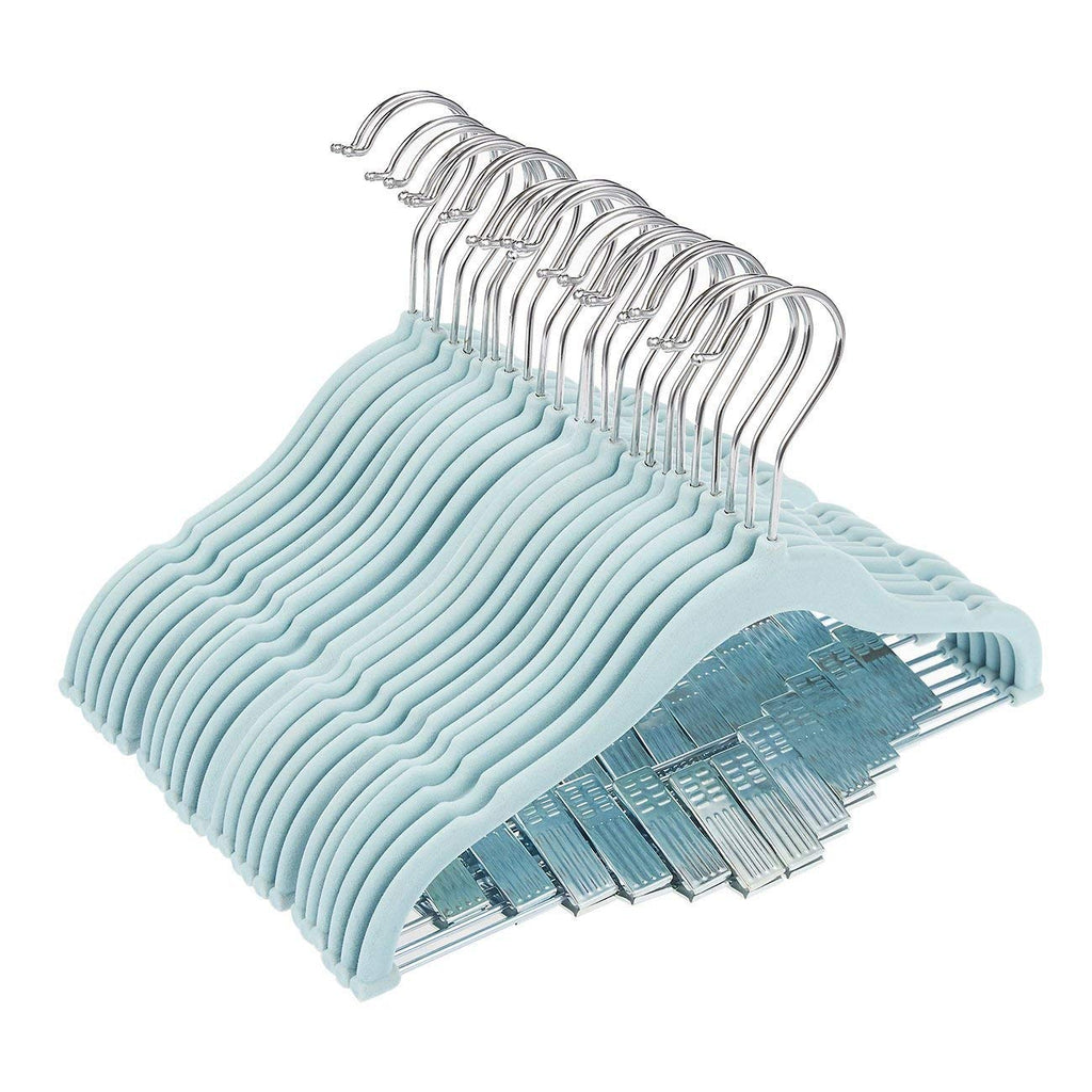 "Juvale 24 Pack Baby Clothes Velvet Hangers with Clips Blue Ultra Thin No Slip Kids 12"" x 8"""