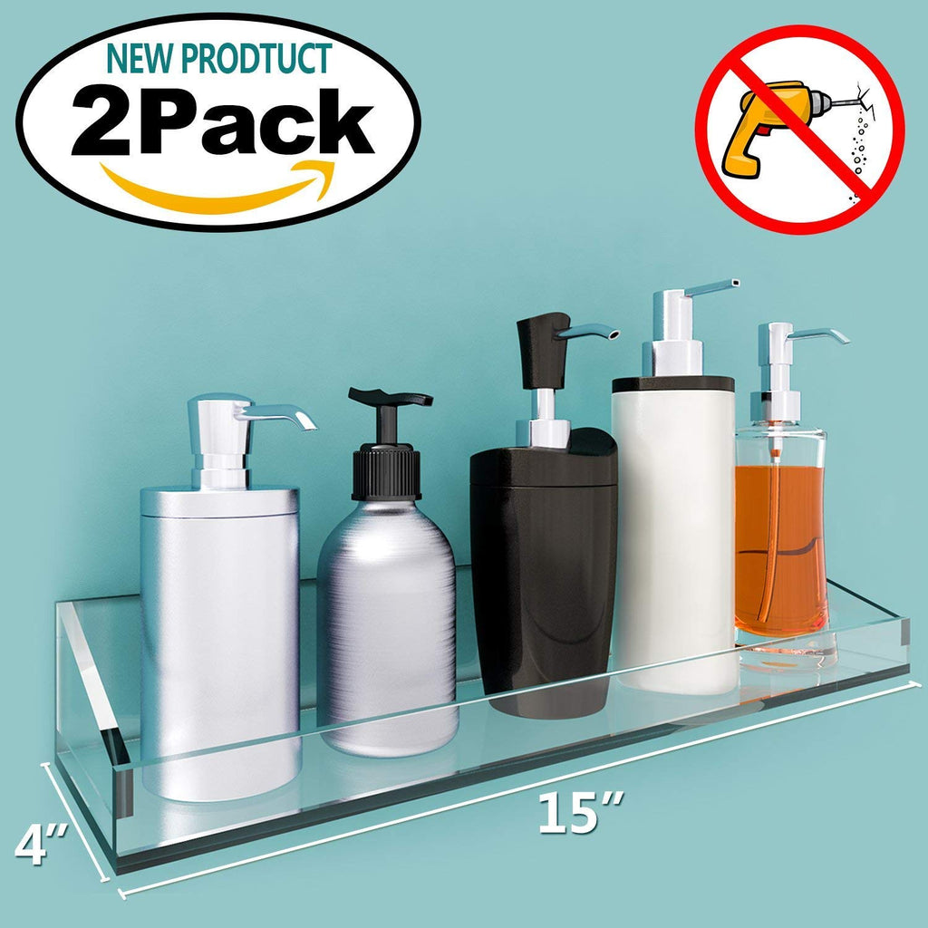 NEW Product Vdomus Acrylic Bathroom Shelves, Wall Mounted Non Drilling Thick Clear Storage & Display Shelvings, 2 Pack