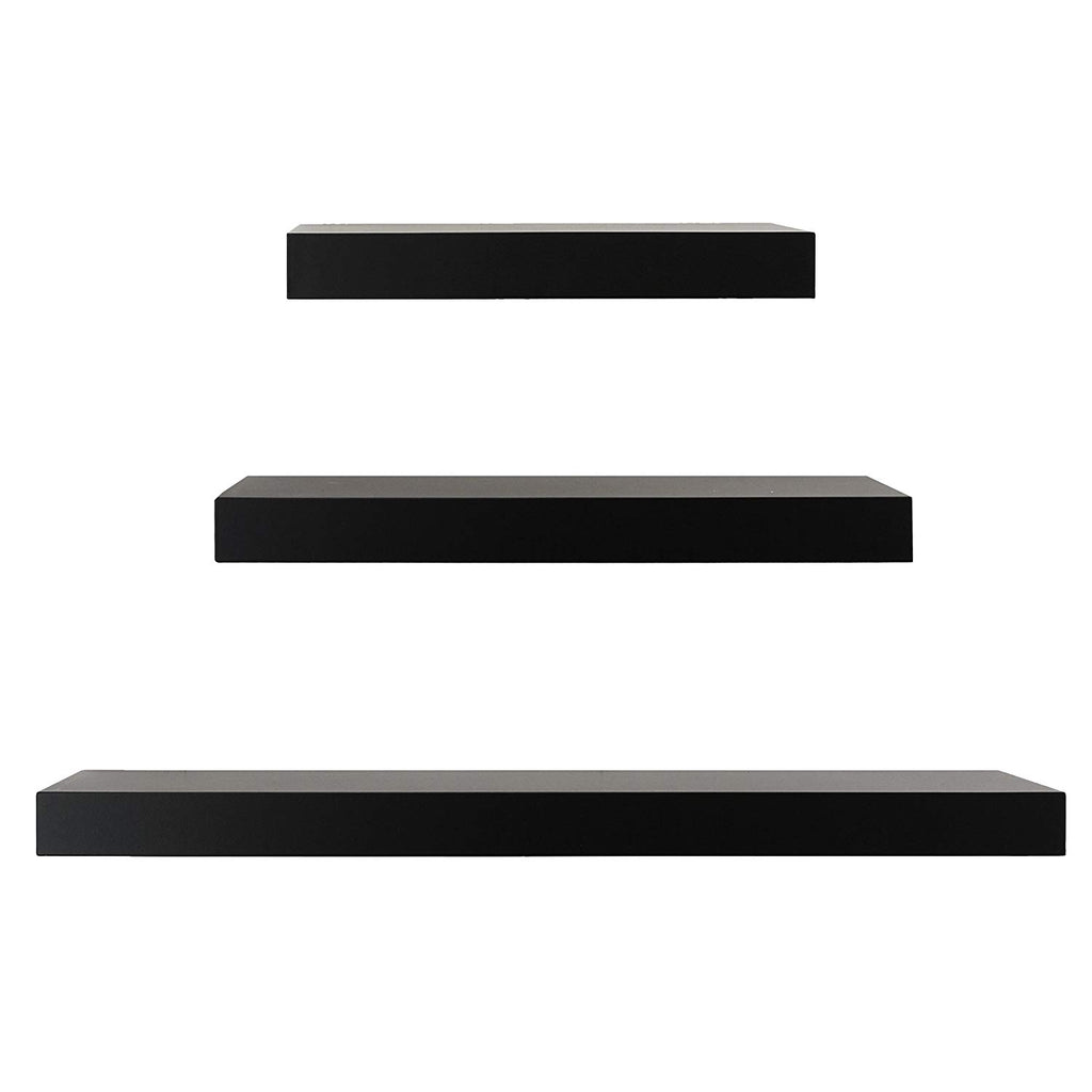Kiera Grace Maine Wall Ledges, 12 Inch, 16 Inch, 24 Inch, Black, Set of 3