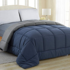 Equinox All-Season Charcoal Grey/White Quilted Comforter - Goose Down Alternative - Reversible Duvet Insert Set - Machine Washable - Hypoallergenic -